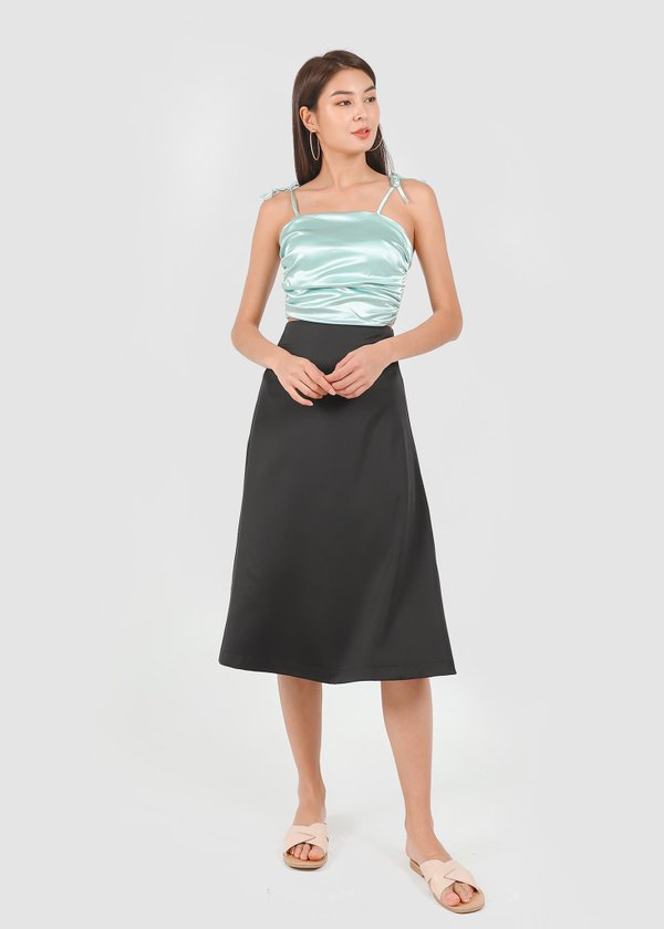 Kale Midi Satin Skirt in Black #6stylexclusive