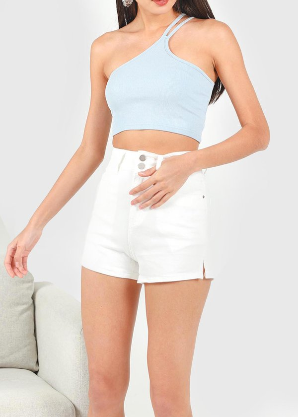 Kurl Highwaisted Double Button shorts in White
