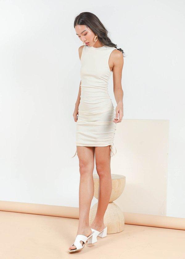 Maella Ruched Racer Dress in Cream