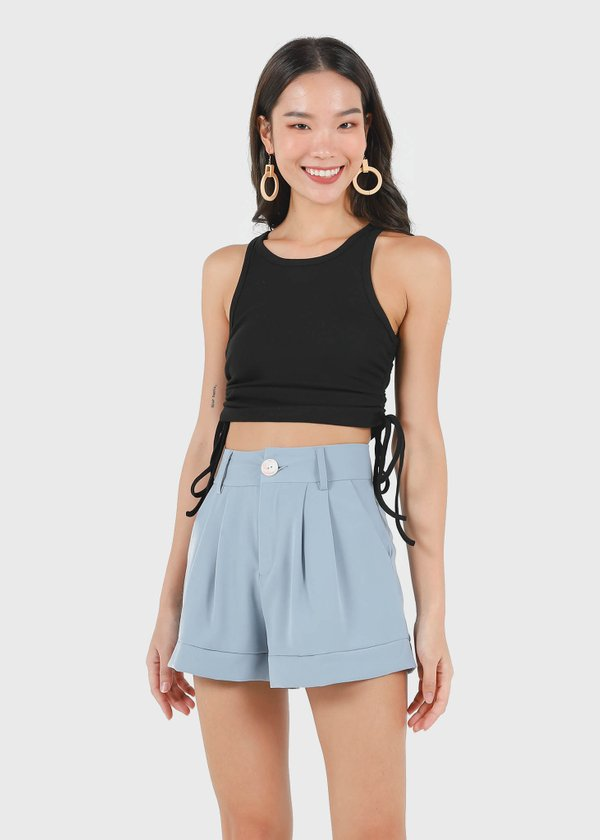 Maella Ruched Racer Top in Black