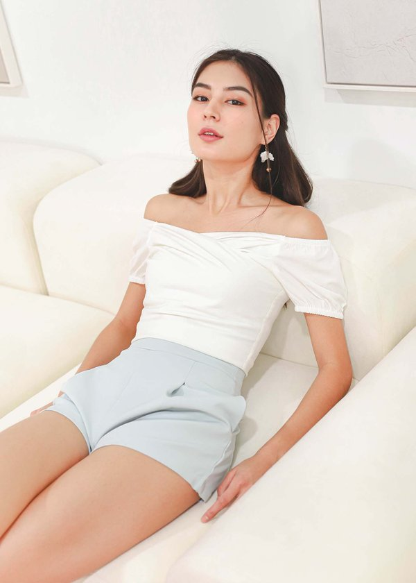 Nico Cross Cold Shoulder Top in Off-White #6stylexclusive