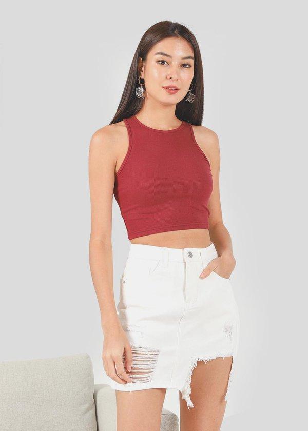 Percy Denim Ripped Skirt in White
