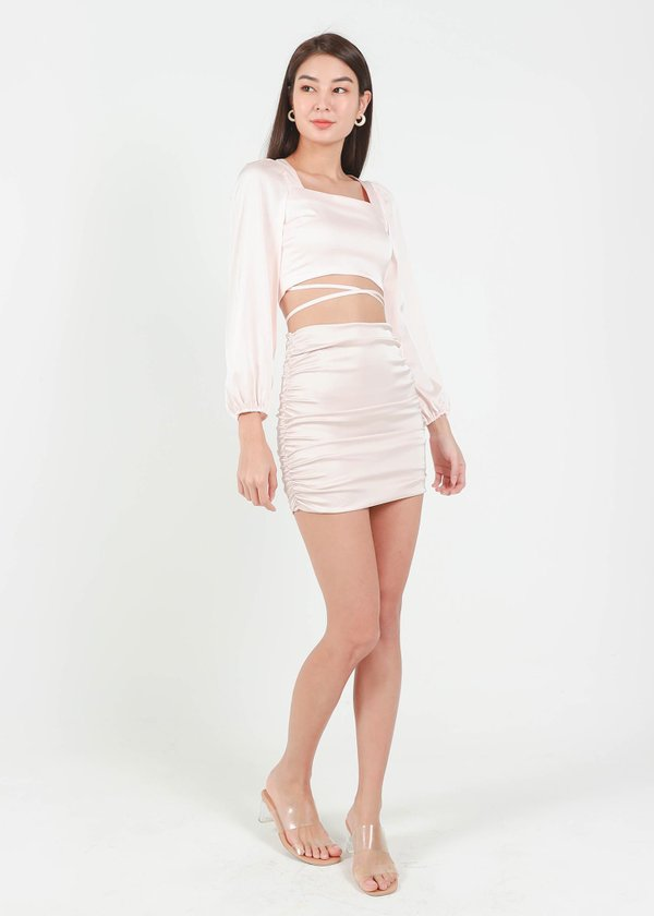 Raquel Satin Ruched Skirt in Champange Pink #6stylexclusive