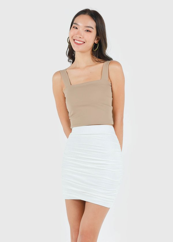 Roxy Square Padded Top in Camel Brown #6stylexclusive