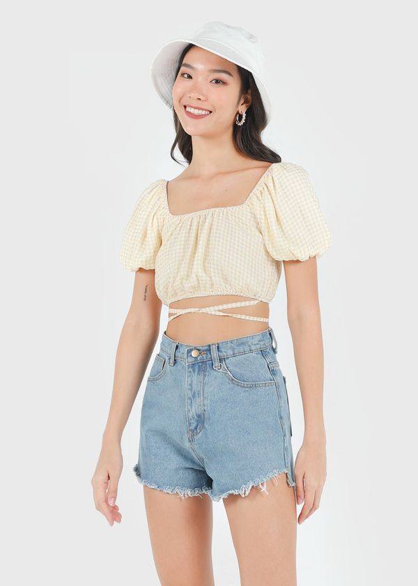 Kayen Gingham Puffy 2 Way Top in Yellow #6stylexclusive