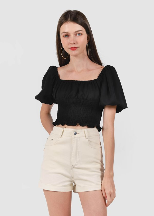 Tyra Puffy Top in Black #6stylexclusive