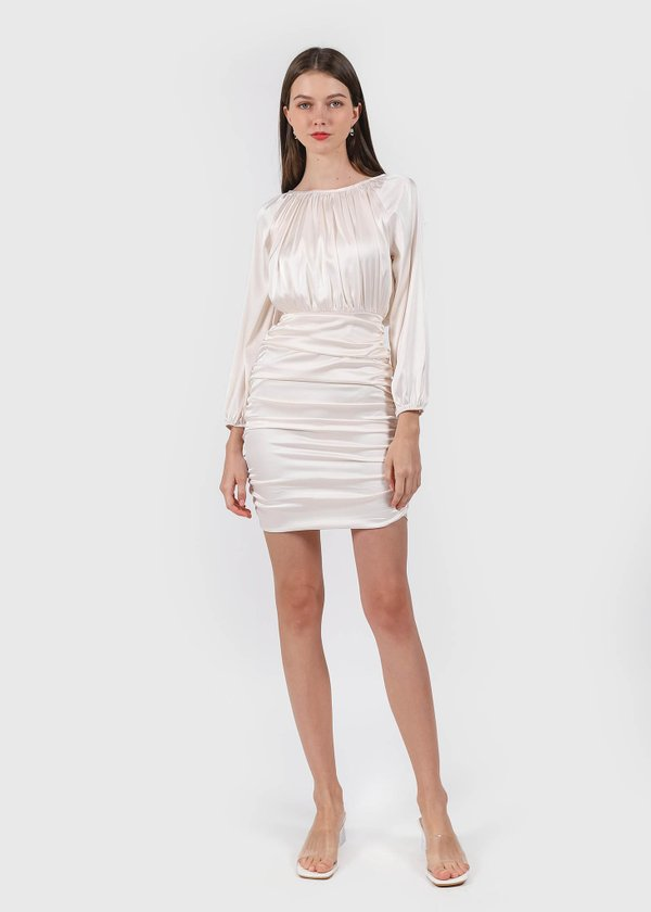Penthouse Pleats Ruched Dress in Pearl White #6stylexclusive